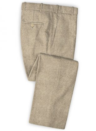 Vintage Herringbone Light Beige Tweed Pants