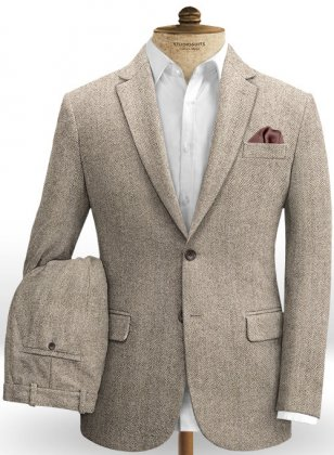 Vintage Herringbone Brown Tweed Suit