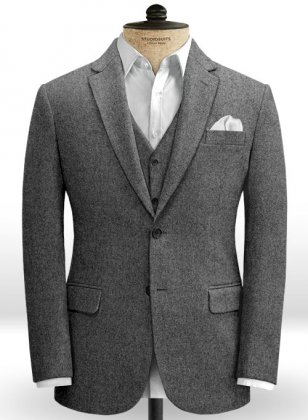 Vintage Plain Dark Gray Tweed Jacket