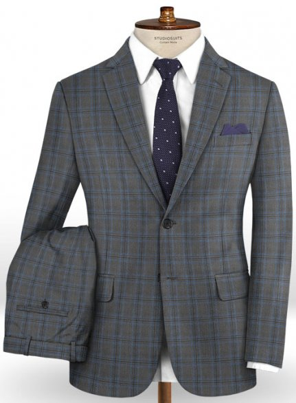 Napolean Sarcho Gray Blue Wool Suit