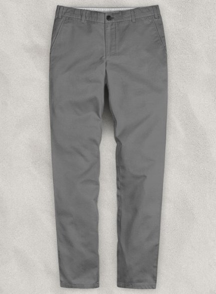Washed Gray Feather Cotton Canvas Stretch Chino Pants