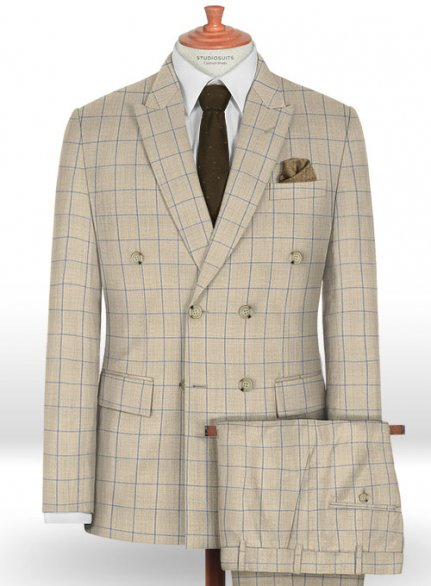 Napolean Pane Light Beige Wool Suit