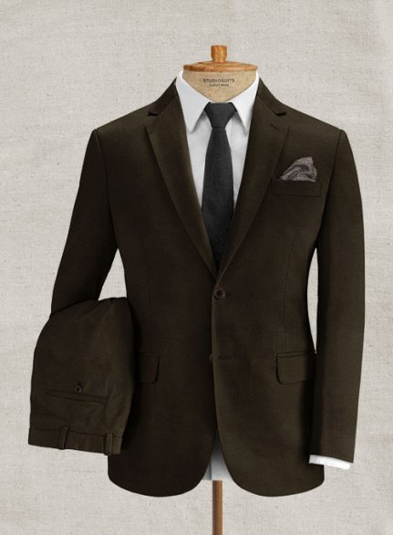 Italian Brushed Cotton Dark Brown Suit