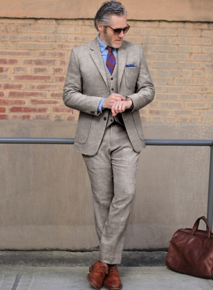 Light Weight Brown Tweed Suit