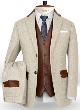 Herringbone Light Beige Tweed Suit - Leather Trims