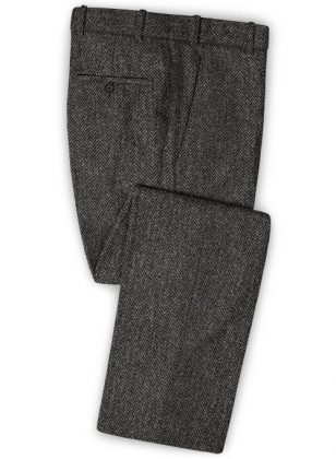 Harris Tweed Dark Gray Herringbone Pants