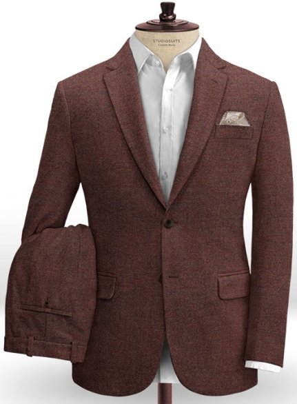 Royal Wine Herringbone Tweed Suit