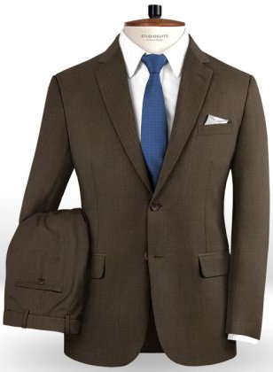 Worsted Dark Brown Wool Suit