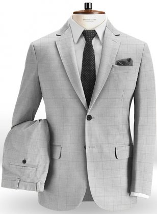 Glen Stretch Cotton Light Gray Suit