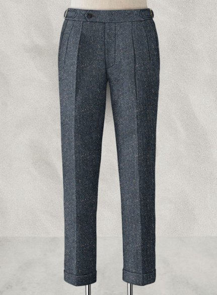 Arc Blue Herringbone Flecks Donegal Highland Tweed Trousers