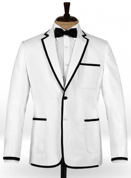 White Terry Rayon Jacket - Black Trims