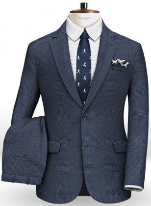 Napolean Royal Blue Birdseye Wool Suit- Ready Size