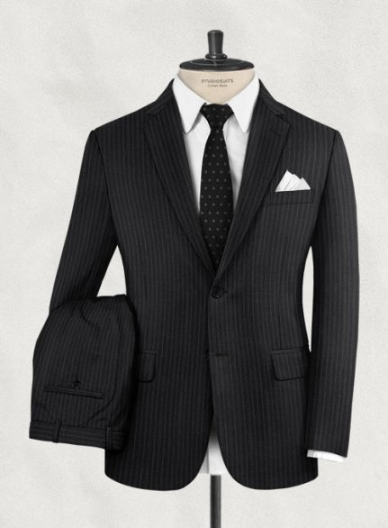 Charles Clayton Filipi Black Stripe Wool Suit