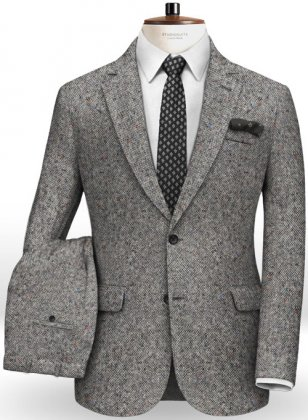 Caccioppoli Donegal Light Gray Tweed Suit