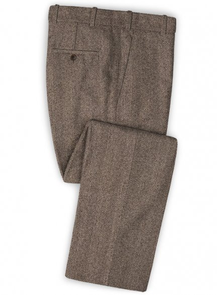 Italian Wide Herringbone Brown Tweed Pants