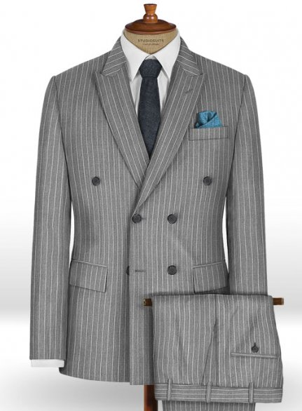 Napolean Stripo Gray Wool Suit
