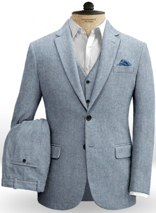 Light Blue Denim Tweed Suit