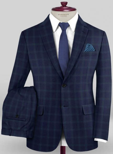 Scabal Mosaic Nippi Blue Wool Suit
