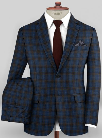 Scabal Mosaic Mipro Blue Wool Suit