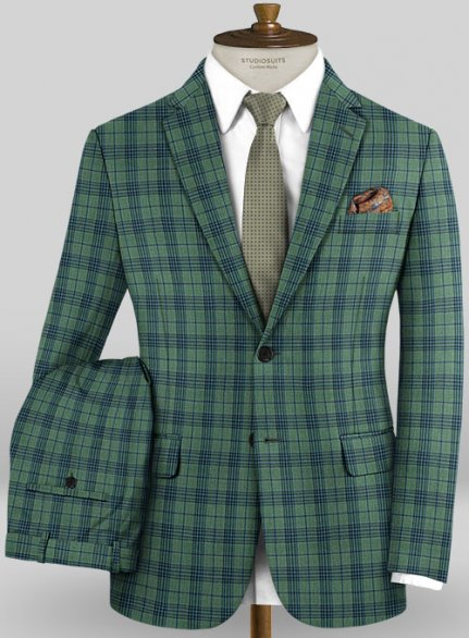 Scabal Mosaic Cori Green Wool Suit