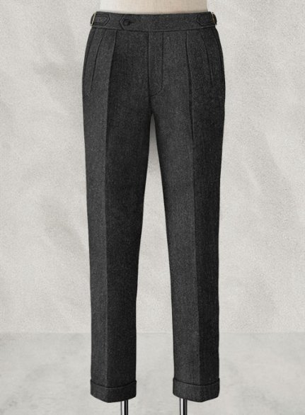 Charcoal Herringbone Highland Tweed Trousers
