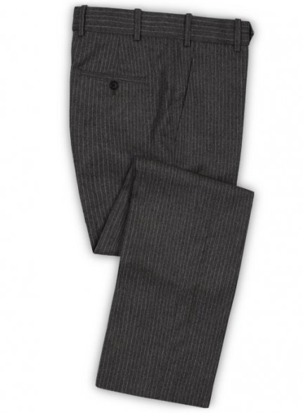 Light Weight Charcoal Stripe Tweed Pants
