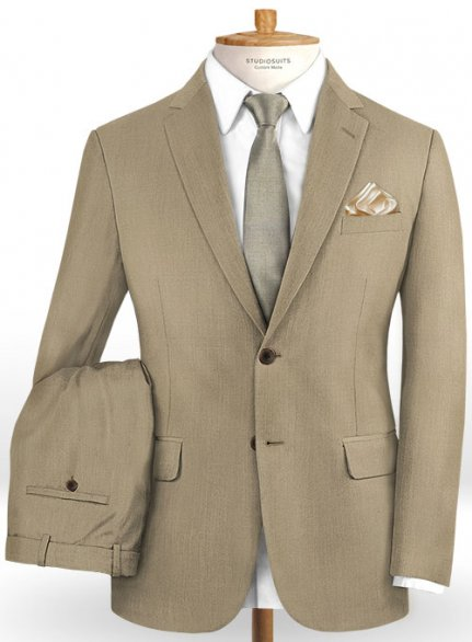 Scabal Boston Khaki Wool Suit