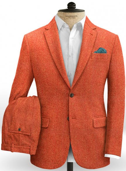 Italian Wide Herringbone Fire Tweed Suit