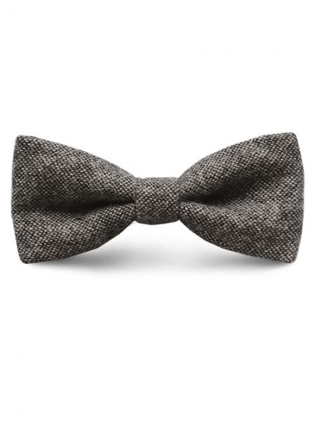 Tweed Bow - Dark Gray Tweed