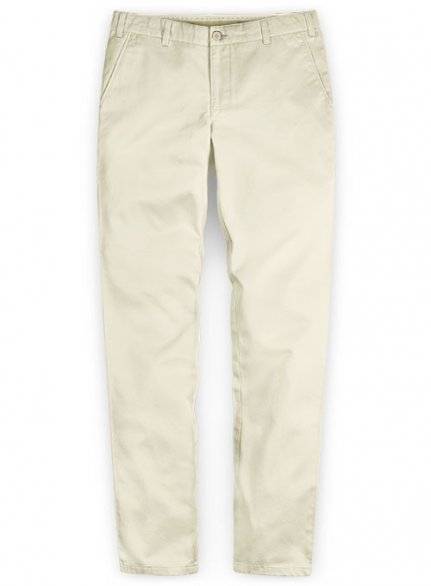 Washed Light Beige Feather Cotton Canvas Stretch Chino Pants