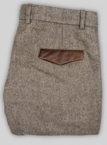 Vintage Dark Brown Herringbone Tweed Pants - Leather Trims