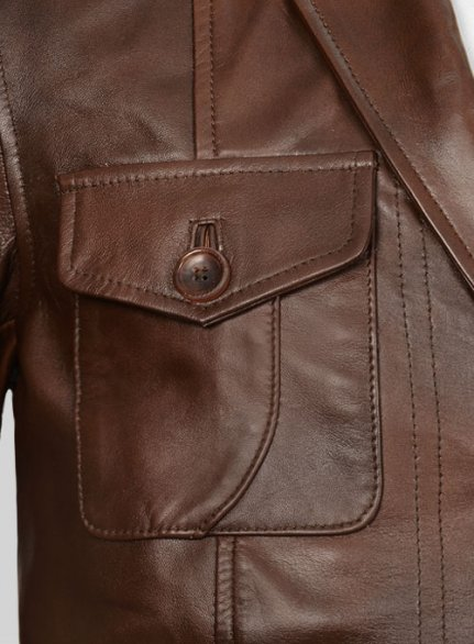 Spanish Brown Leather Blazer - #716