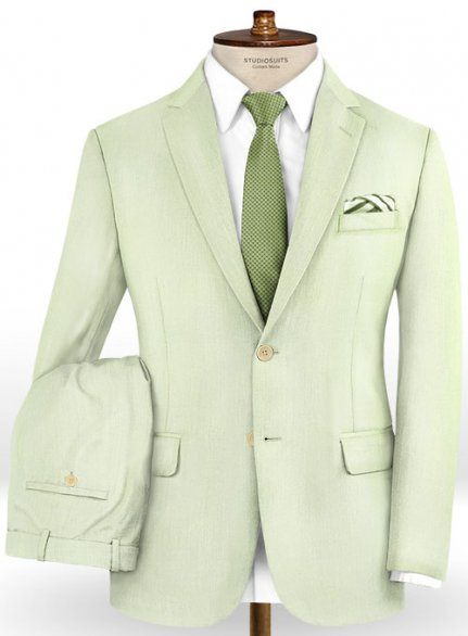 Scabal Pale Green Wool Suit
