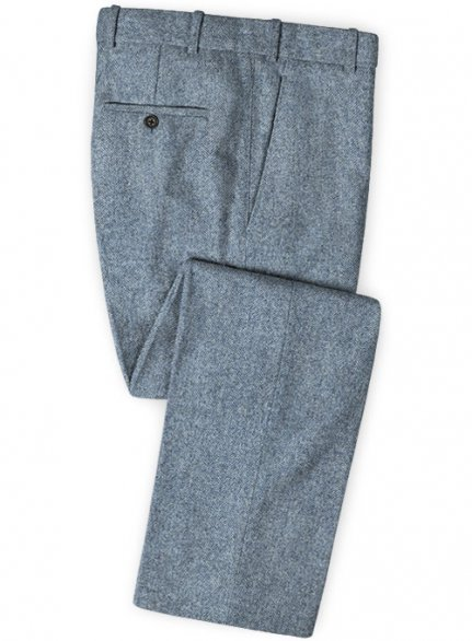 Light Blue Herringbone Tweed Pants