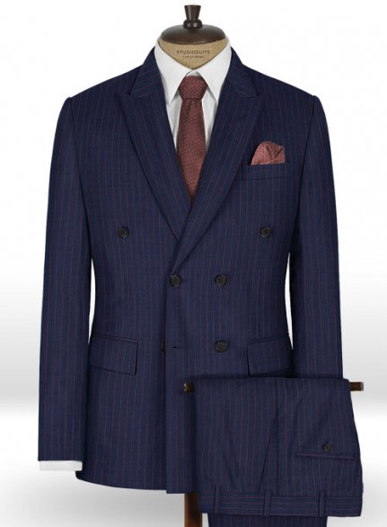 Napolean Stripo Blue Wool Suit