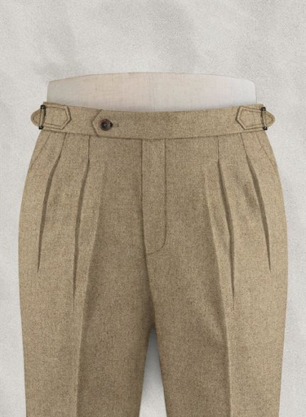 Light Weight Light Brown Highland Tweed Trousers