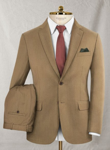 Reda Khaki Pure Wool Suit