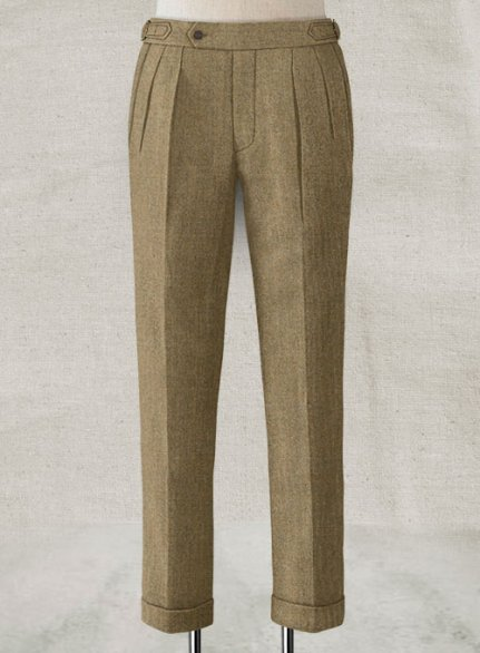 Light Weight Melange Brown Highland Tweed Trousers