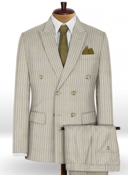 Napolean Stripo Fawn Wool Suit