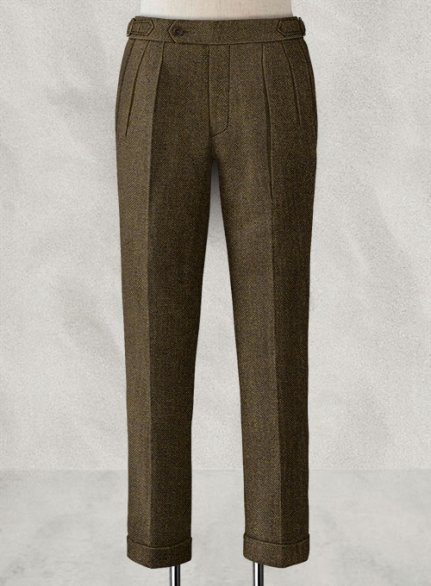 Bottle Brown Herringbone Highland Tweed Trousers