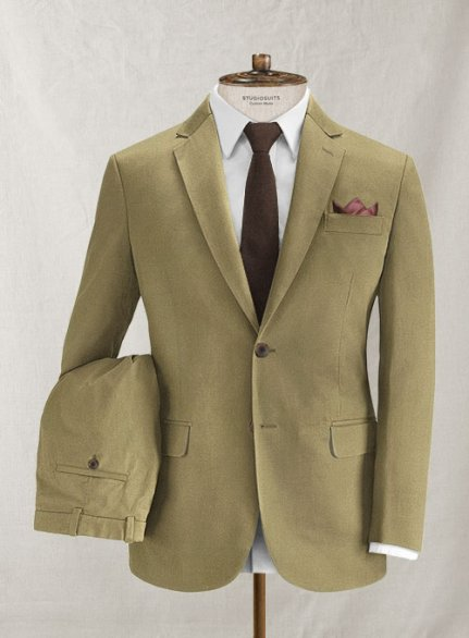 Italian Brushed Cotton Khaki Suit
