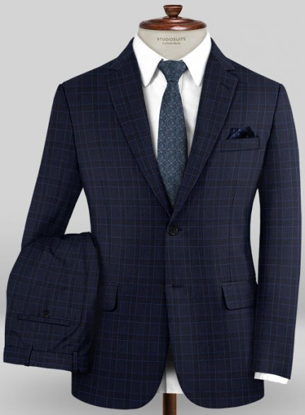 Scabal Mosaic Volga Blue Wool Suit