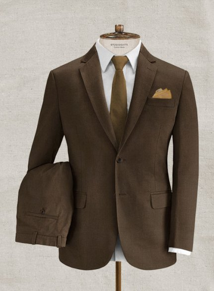 Italian Brushed Cotton Brown Suit