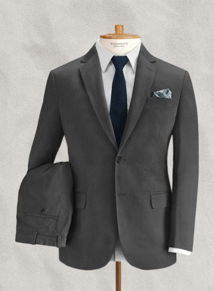 Italian Brushed Cotton Gray Suit