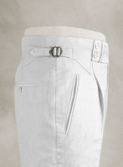 Safari White Heritage Cotton Linen Trousers