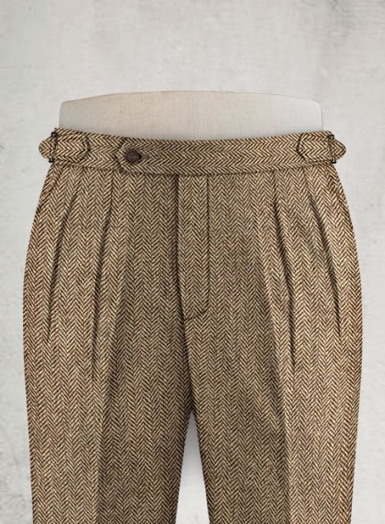 Irish Brown Herringbone Highland Tweed Trousers