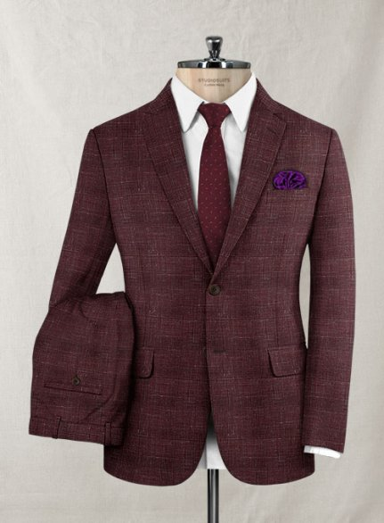 Italian Murano Achale Red Wool Suit