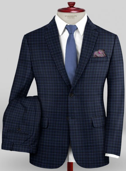 Scabal Mosaic Socca Blue Wool Suit