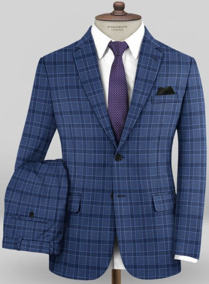 Scabal Mosaic Alya Blue Wool Suit