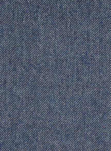 Vintage Herringbone Blue Tweed Pants - Leather Trims